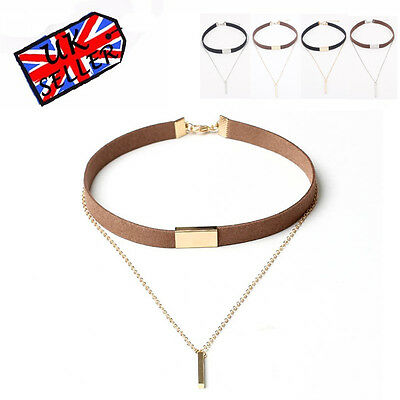 Leather Choker Charm Necklace Vintage Hippy Chocker Retro Leather Cord 4 COLOURS