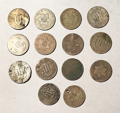 Lot of 14 Three Cent Silver 3c No Minimum Auction From Old Estate