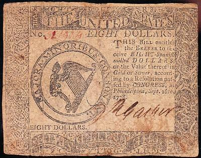 Nice *RARE* Sept. 26, 1778 Pennsylvania Colonial $8 Note! FREE SHIPPING! 321904