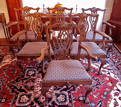 Custom Quality Set of 6 Solid Mahogany Chippendale Style Dining Arm Chairs