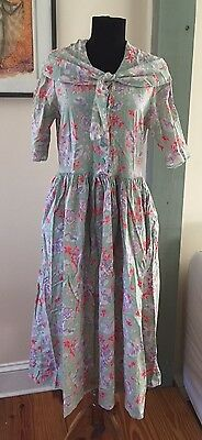 Vintage 80s Laura Ashley Made in Great Britain Floral Sailor Dress - 12 US 14 UK