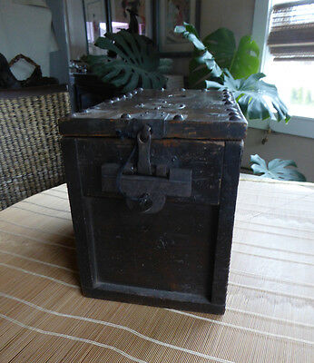 Vintage Japanese Money/Cash Box With Lock/Key, Zenibako, Ebisu Woodblock Print