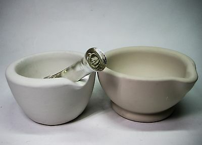 2 Vintage Bisque Ceramic Porcelain Pharmaceutical Apothecary Mortar Glass Pestle