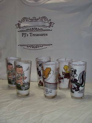 Vintage Set of 6 Looney Tune Pepsi Collector Drinking Glasses From 1976.