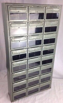 Vintage Industrial RELYON 24 Drawer Metal Parts Bin Cabinet Organizer Box GLASS