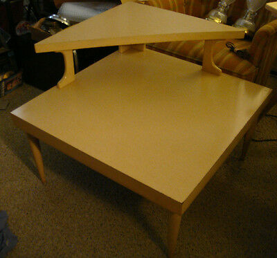 Vtg Blond Wood Tri Top Table Mersman Mid Century Modern Step End Side MCM 60s NR