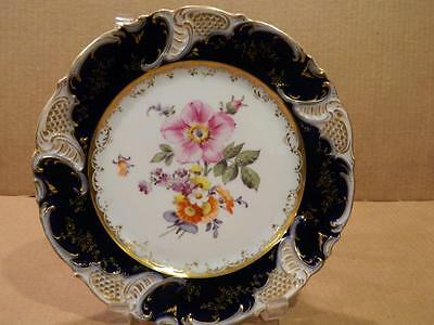 "Joan Rivers Personal 8"" Plate German Cobalt, Gold, & Flowers Antique [b]"