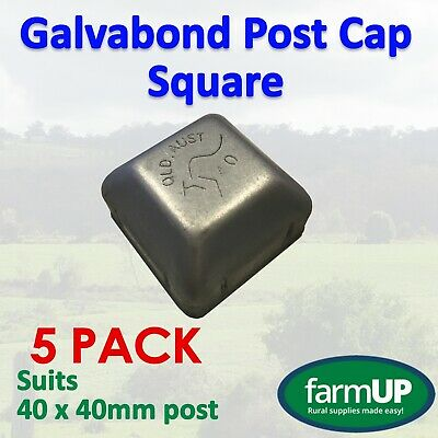 5x GALVABOND POST CAP SQUARE 40mm x 40mm Steel Fence Tube Flat Top