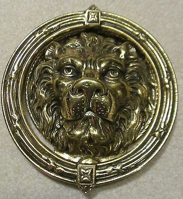 "Large Unique Solid Brass Lion's Head Door Knocker 9"" Tall"