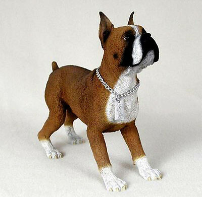 BOXER (CROPPED FAWN) MY DOG Figurine Statue  Gift Resin Hand Painted