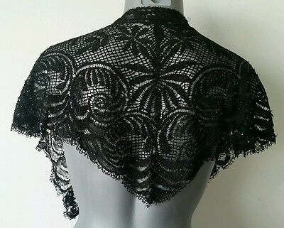 TRUE ANTIQUE VICTORIAN CHANTILLY LACE SHAWL w BEADING BLACK MOURNING