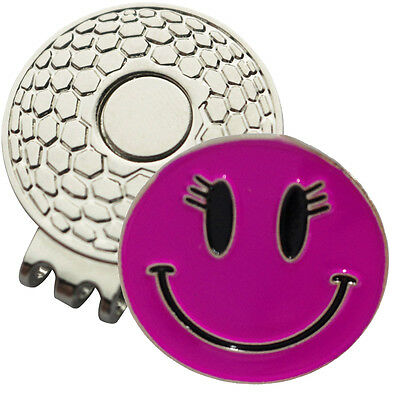 1 x New Magnetic Hat Clip + Pink Smiley Golf Ball Marker - For Golf Hat or Visor