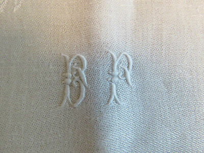 "6 Antique French Napkins White Linen Damask Napkin Set 31"" x 27"" Monogram B P"
