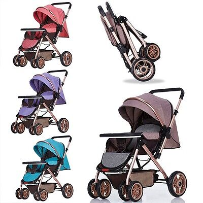 Pop Baby Stroller Full Canopy Pushchair Travel Safe Kids Bi-Direction Pram Buggy