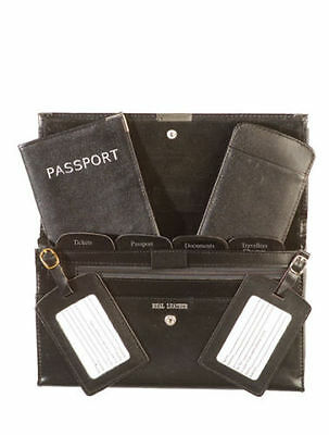 Personalised Monogrammed Genuine Leather Passport Travel Wallet 5pcs Set