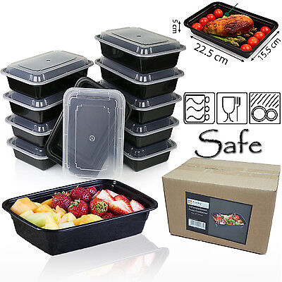 Pack Of 10 Food Containers Storage Prep Meal 1 Compartment Lids Lunch Box