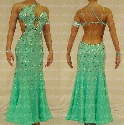 Women Ballroom Smooth Competition Standard Dance Dress US 8 UK 10 Two Green