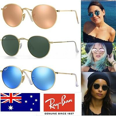 New Ray-Ban ® Round Metal Gold Frame RB 3447 Pink Mirror Blue Mirror Green G-15