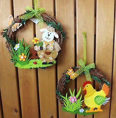 Easter Spring Twig Wreath Hanging Decoration Felt Lamb Sheep or Chicken Design