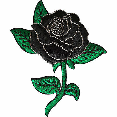 Black Rose Patch Embroidered Flower Badge Iron Sew On Clothes Jacket Jeans Shirt