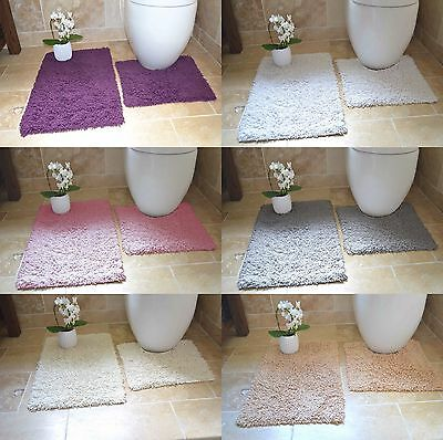 Luxury 2 Piece Bathroom Mat & Pedestal Mat Set 100% Cotton,tumble Twist,6 Shades