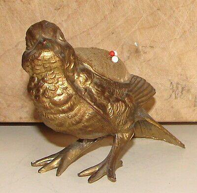 Antique Victorian Figural Bird Gilded Metal Pin Cushion