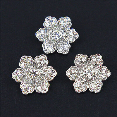 6 Pcs Flower Silver Tone Rhinestone Shank Buttons Sewing Costume Crafts DIY 21mm