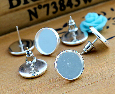 Silver Plated Earring Stud Blanks/Bases | Fit 12mm Cabochons | 20pcs (10 pairs)