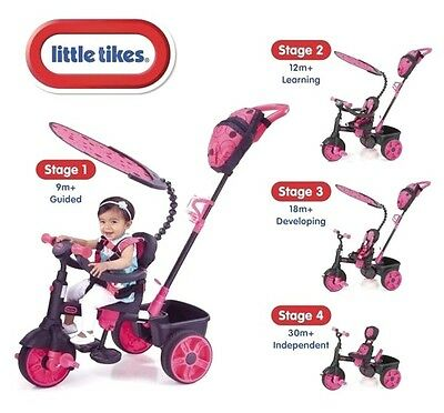 New Little Tikes Neon Pink Deluxe 4 in 1 Trike - Girls First Pink Tricycle