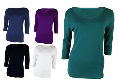 Ex M&S Ladies Classic Top Tshirt  Pure Cotton 3/4 Sleeve V Neck Marks & Spencer
