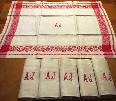 "6 Antique French Linen Napkins Set Monogram A J White Red Border 30"" Napkin"