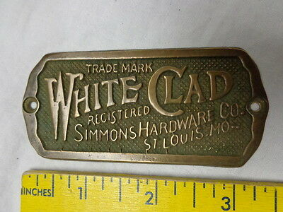 """1890's Simmons Hardware Co Brass Ice Box Advertising Plate / Tag / Label, 2x3.5"""""""