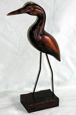 "Hand Carved Wood Painted Tropical Shore Bird ~3""X14""~Nautical Decor"