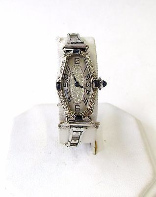 Antique - Art Deco 20K White Gold with Sapphires Watch