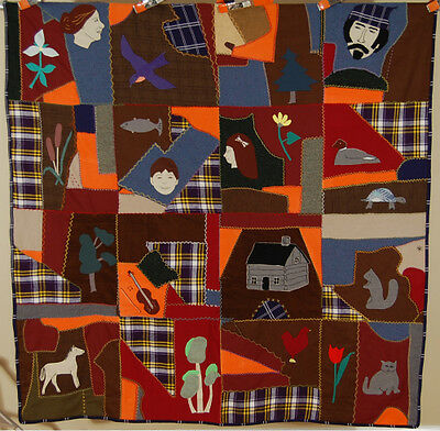 VIBRANT Vintage Folk Art Wool Crazy Quilt ~People, Animals, Log Cabin, & Fiddle!
