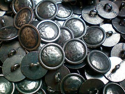 15mm Antique Aged Silver Beaten Metal Industrial Costume Shank Buttons (XM2)