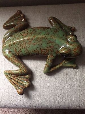 Ceramic Hanging Frog Wall Ornament **ONE OF A KIND!! Green Brown Free Shipping