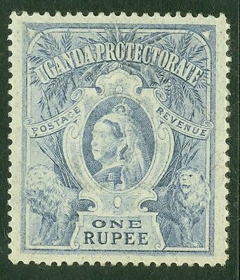 SG 90 Uganda 1r dull blue. Very lightly mounted mint CAT £55