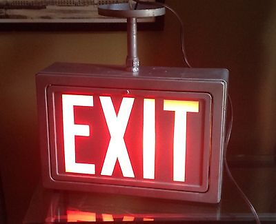 Mid century Modern Metal And Glass Lighted EXIT Sign