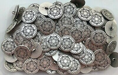 28mm 44L Antique Silver Grey Effect Flower Metal Shank Costume Buttons (XM8)