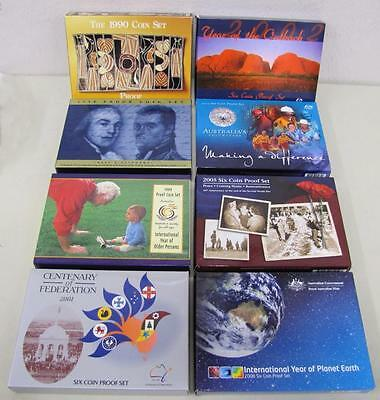 1990-2008, (8) Different Australia Proof Sets, Original Boxes & COA`s!