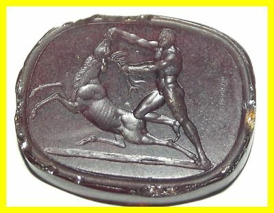 Nathaniel Marchant 18Th C Intaglio Large Glass Seal,signed,hercules 3Rd Labour