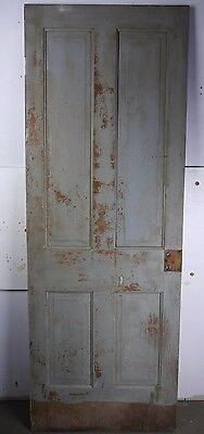 "Antique Vintage 4 Panel Interior Door 77-1/4"" X 28"" (W4) 1800's Local Pickup"