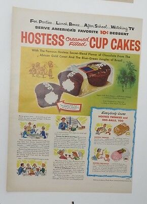 Original Print Ad 1956 HOSTESS Cup Cakes Vintage Creamed Filled