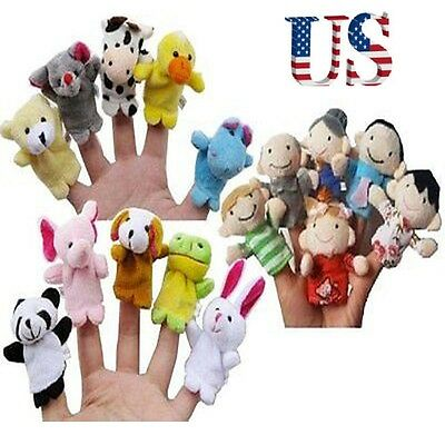 10Pcs Family Finger Puppets Doll Baby Plush Cartoon Animal Educational Hand Toys