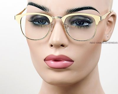 All Metal Clubmaster Glasses Gold or Black Horn Rimmed Vintage Style Clear 094
