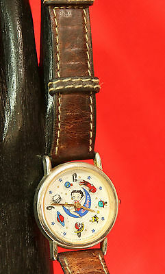 Vintage BETTY BOOP Watch MOON & STARS *AS-IS*for Restoration leather band 1994