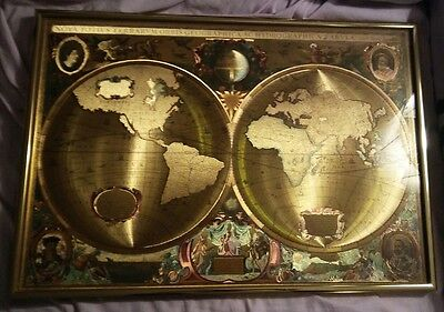 Vintage Hondio Gold Foiled World Map