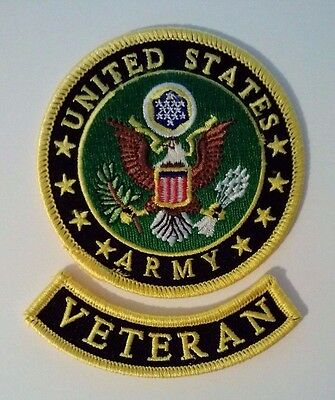 United States Army Veteran Patch 2 Piece Set     3 1/2""