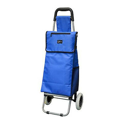 """Insulated Shopping Trolley Bag Rolling Wheeled Grocery Cart Basket Tote 38"""" Blue"""